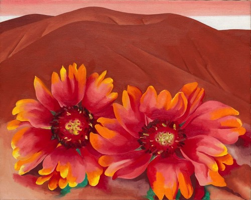 Red Hills with flowers Georgia O'Keefe
