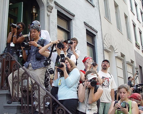 lots of photographers on stairs