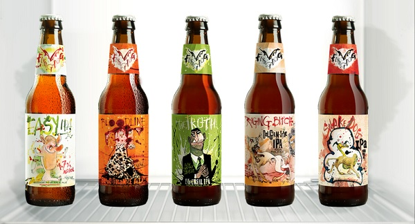 selection of beer label dsigns from flying dog brewery