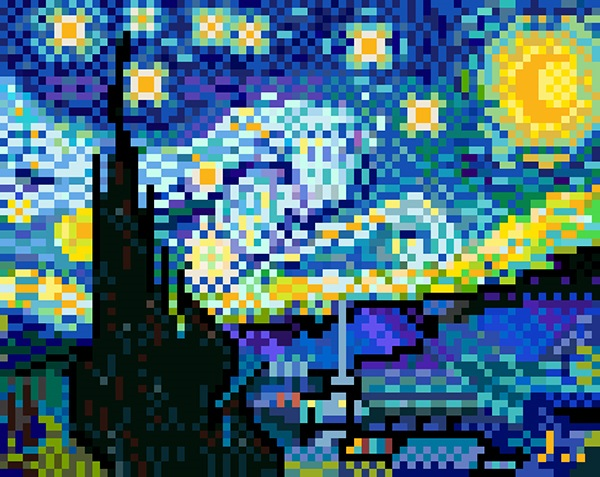 starry night pixel art