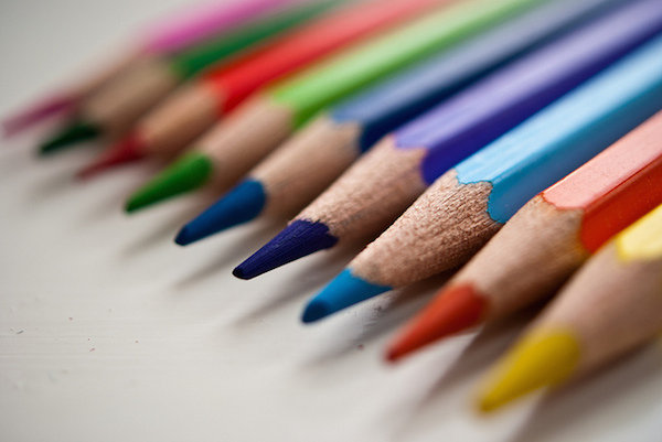 row of coloured pencils