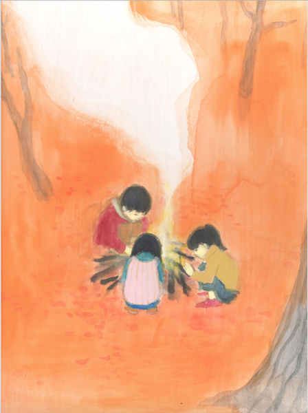 Illustration of children huddled round a campfire from japan