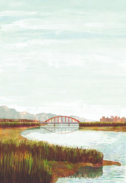 illustration of japanese river and bridge