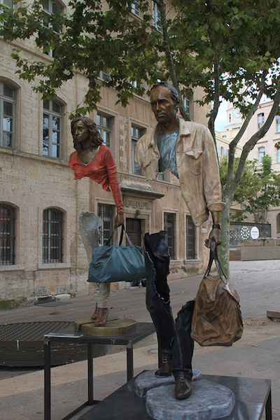 modern sculpture in port of marseilles