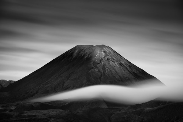 image of tongariro national park in black and white