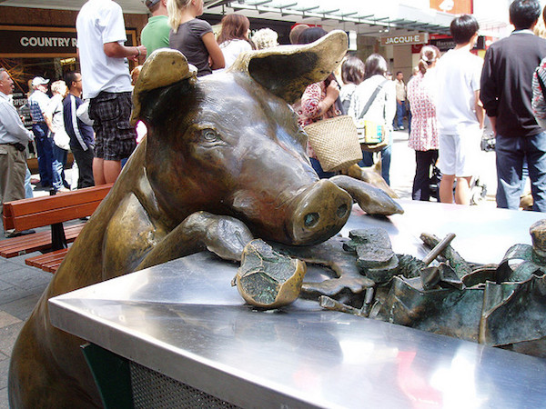 image of pig sculpture in adelaide