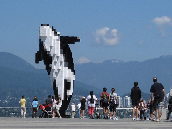 photograph of modern digital orca sculpture