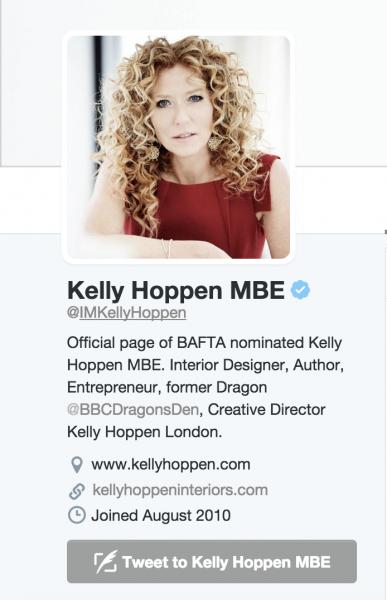 mage of interior designer kelly hoppen's twitter profile