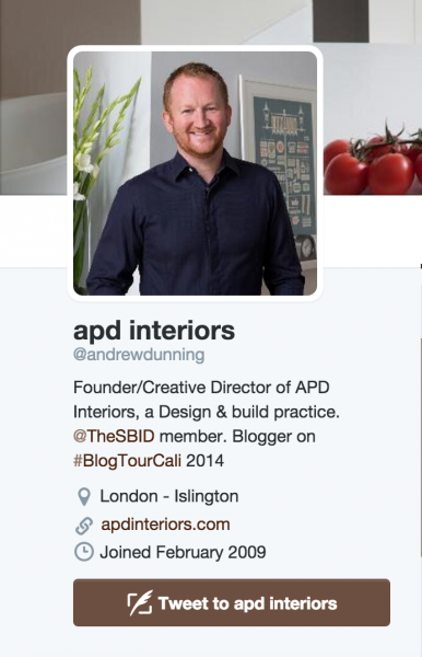 twitter homepage of andrew dunning interior architecture