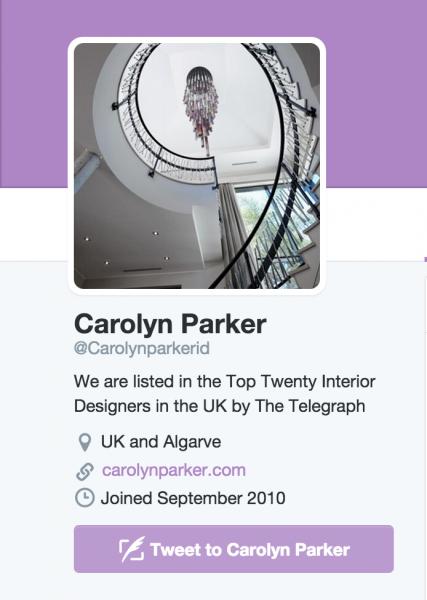screenshot of interior designer carolyn parker's twitter homepage