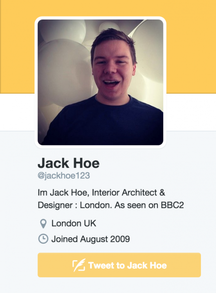 social media page of London interior architect jack hoe