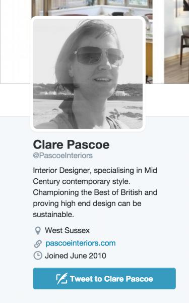 twitter profile of top uk interior designer clare pascoe