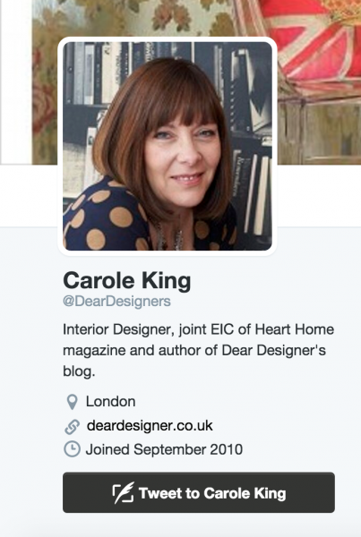 screenshot of interior designer carole king's twitter homepage