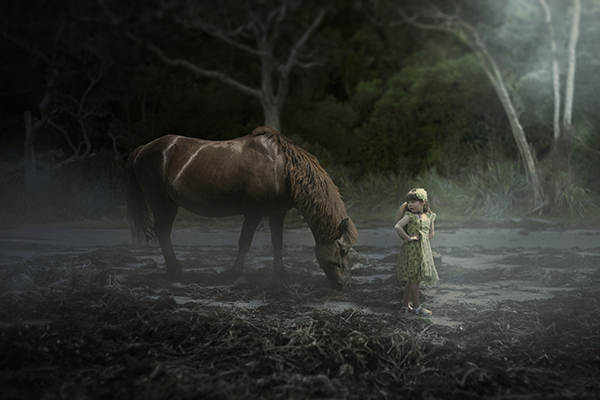 photograph of horse and girl in new zealand
