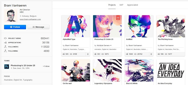 Bram Vanhaeren Behance profile