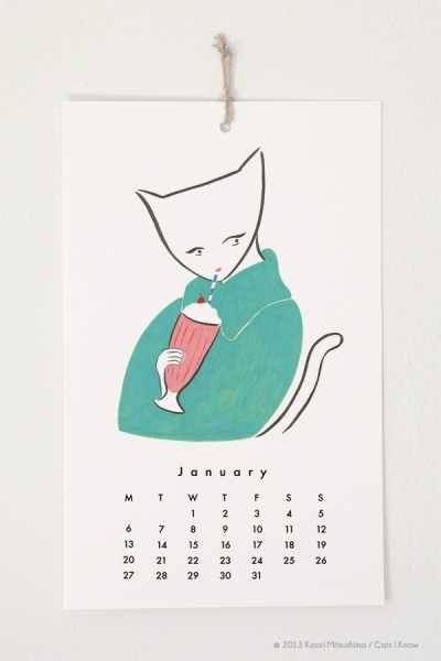 cat calendar illustration by Kaori