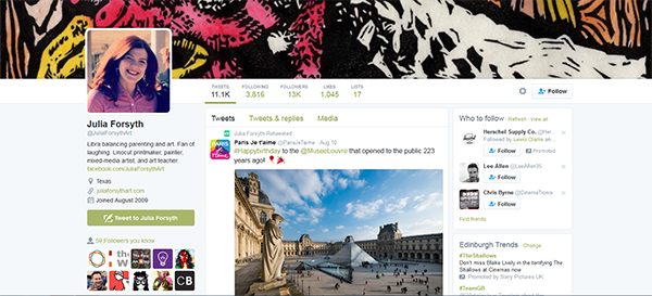 Image of the Twitter account of artist Julia Forsyth