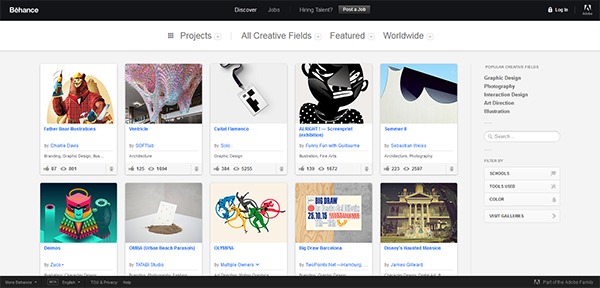 Image of featured work on the Behance homepage [5 Best Portfolio Websites for Promoting your Work]