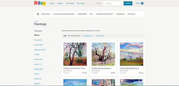 """Image of the online craft and design marketplace """"Folksy"""""""