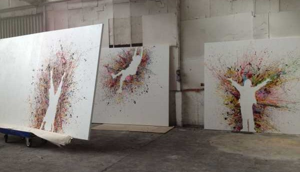 Image of a series of paintings at the Swarez Art studios