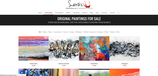 "Image of the ""Art for Sale"" page on the Swarez Art website"