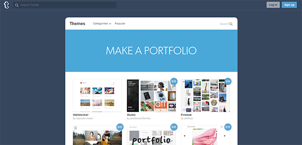 Image of Tumblr's portfolio-building feature [5 Best Portfolio Websites for Promoting your Work]