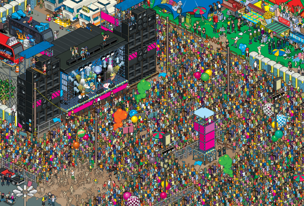 Pixel art depicting a Rolling Stones concert created by eBoy