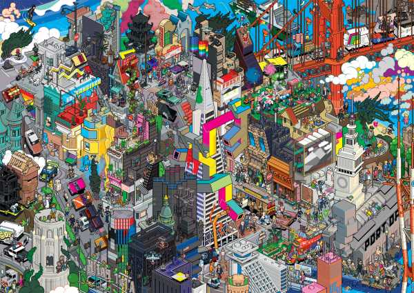 Detailed pixel art drawing of San Francisco created by eBoy