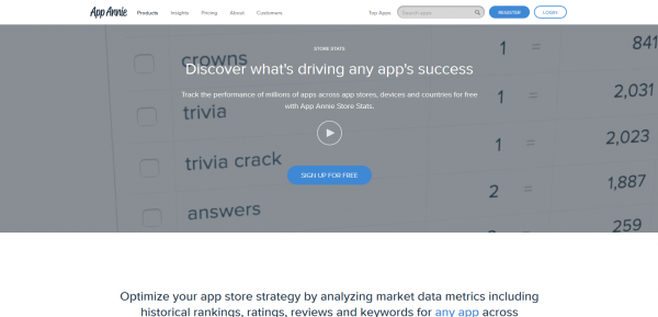 Image of the website for app analytics tool App Annie