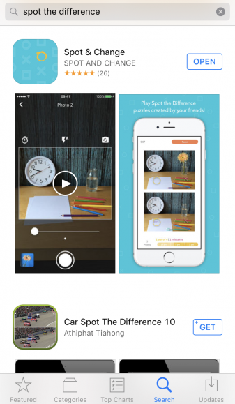 Image of the Spot & Change mobile app as featured on the Apple App Store