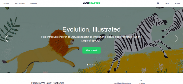 Image of the crowdfunding website Kickstarter