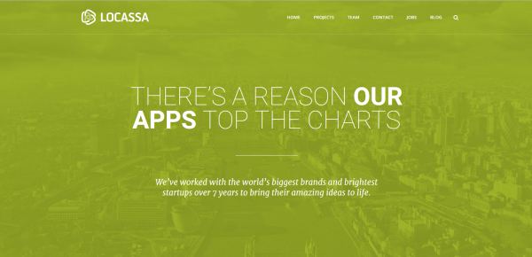 Image of the website of app development agency, Locassa