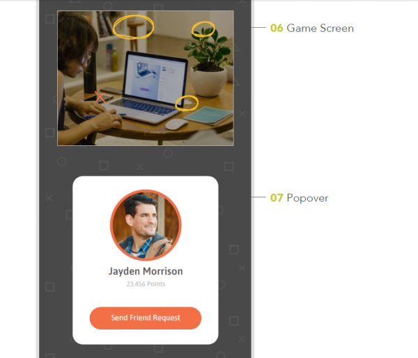 Image of User Interface (UI) designs for mobile game Spot & Change