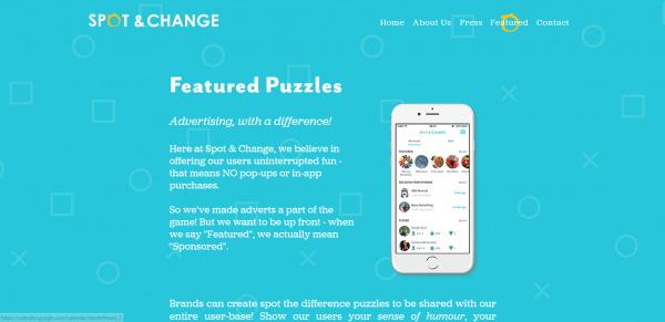 "Image of the ""featured puzzles"" page on the Spot & Change website"