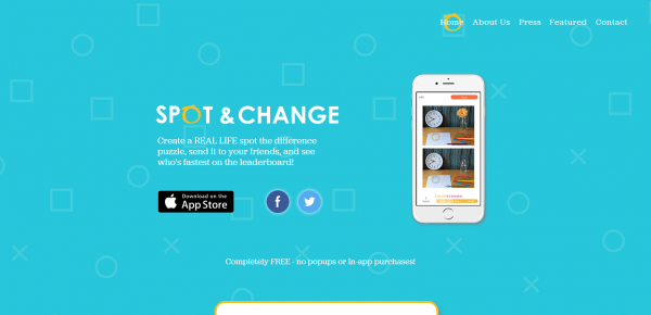Image of the homepage on the website for mobile game Spot & Change
