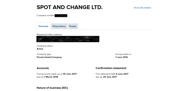 Image of company registration for Spot and Change ltd.
