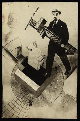 Lenin brings electrification to the Soviet Union, photograph by Gustav Gustavovich Klutis 1920